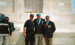 Sergeant Paul Ruge, UN 5th Contingent East Timor (right) now QLD Police, Gladstone, with Denis Percy  National President UNPAA (centre ) 8th Contingent UN Cyprus with Sergeant Mal Nichols Qld Police, Gladstone . They were photographed after the Lone Pine  90th Anniversary Anzac Day Service  2005.