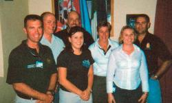 Newly arrived Australian Federal Police members of the 79th Contingent UN Police Mess Nicosia 1/5/04 - Supt. Ingrid Koster, Sgt.Jeff Little, Sgt Ralph Walker, Sgt Nicole Haig, Sgt. Maria Sarullo, Stn Sgt, Paul Sherring ,Sgt. Bruce Kinsman.